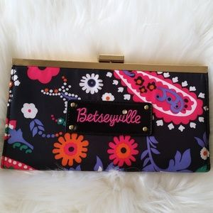 Betsey Johnson Large Floral Print Clutch Wallet